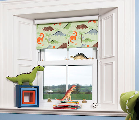 Dino Green Children And Nursery Blackout Roller Blind