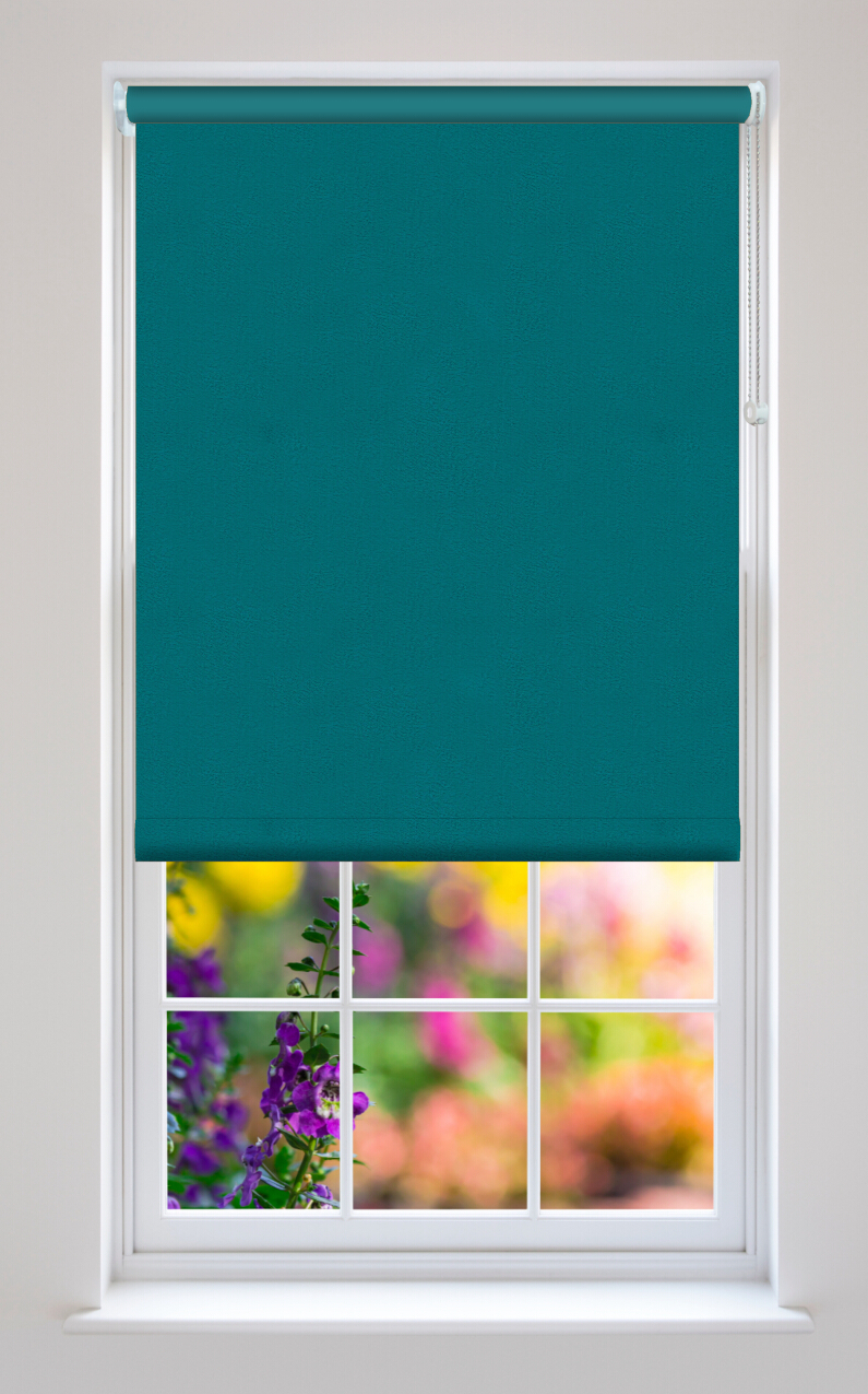 Paloma Teal Suede Blackout Roller Blinds Available Online