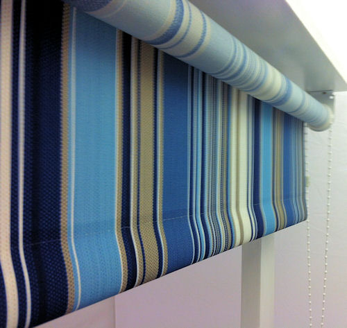 Hepburn Blue Stripe Roller Blinds Quality Made To
